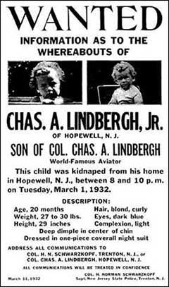 Lindbergh baby kidnapping poster