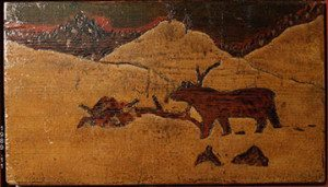 wood-burnt panel by Horace Pippin
