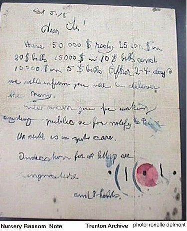 Lindbergh case, the first ransom note