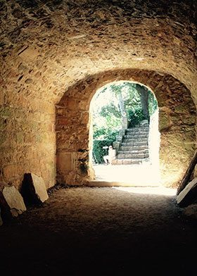 French village stone interior passage