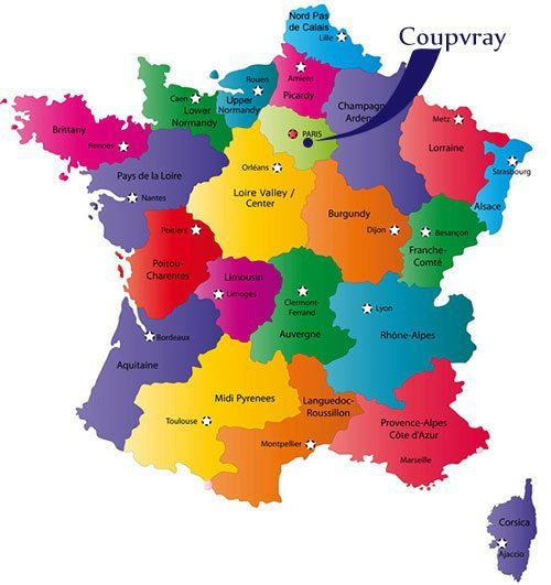 Map of France with Coupvray