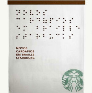 Starbucks in braille Spanish