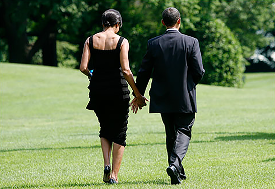 Michelle Obama and President Barak Obama on their way to an August Wilson play